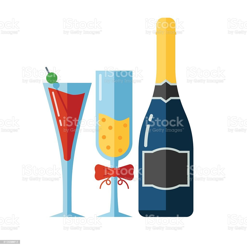Vector Icon of Alcohol Drinks and Glassess vector art illustration