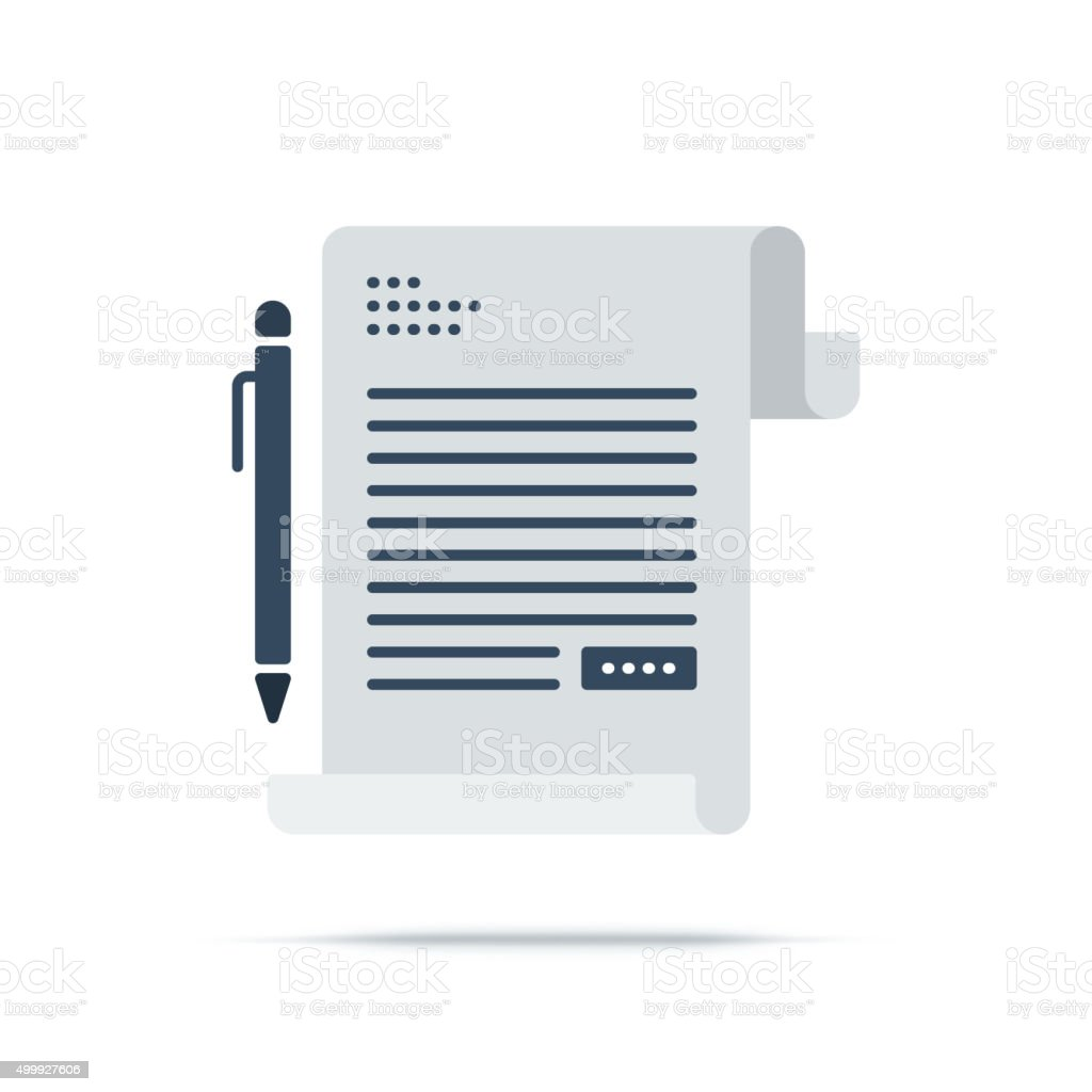Vector Icon of Contract Sign vector art illustration