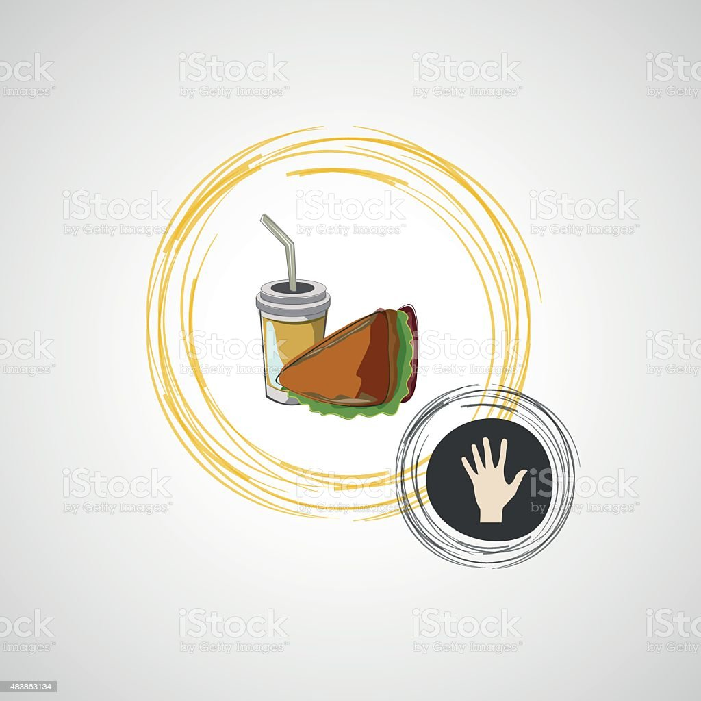 Vector icon of fast food sandwich and a drink vector art illustration