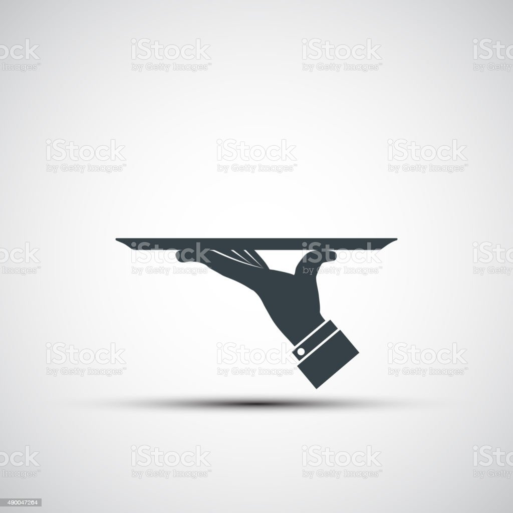 Vector icon of human hand with a tray vector art illustration