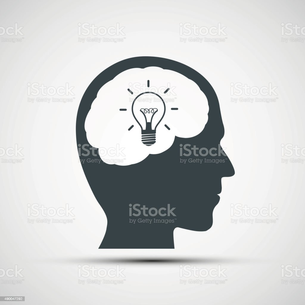 Vector icon of human head with a light bulb vector art illustration
