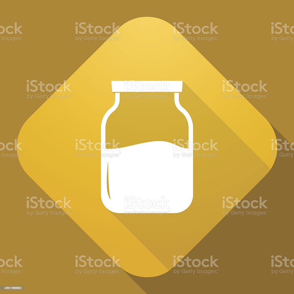 Vector icon of Jar with a long shadow vector art illustration