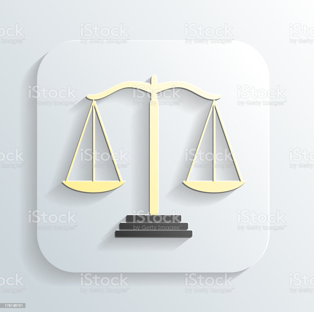 Vector icon of justice scales royalty-free stock vector art
