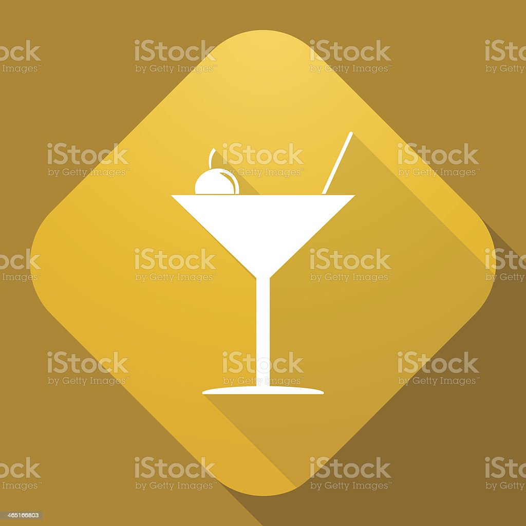 Vector icon of Martini Glass with a long shadow vector art illustration