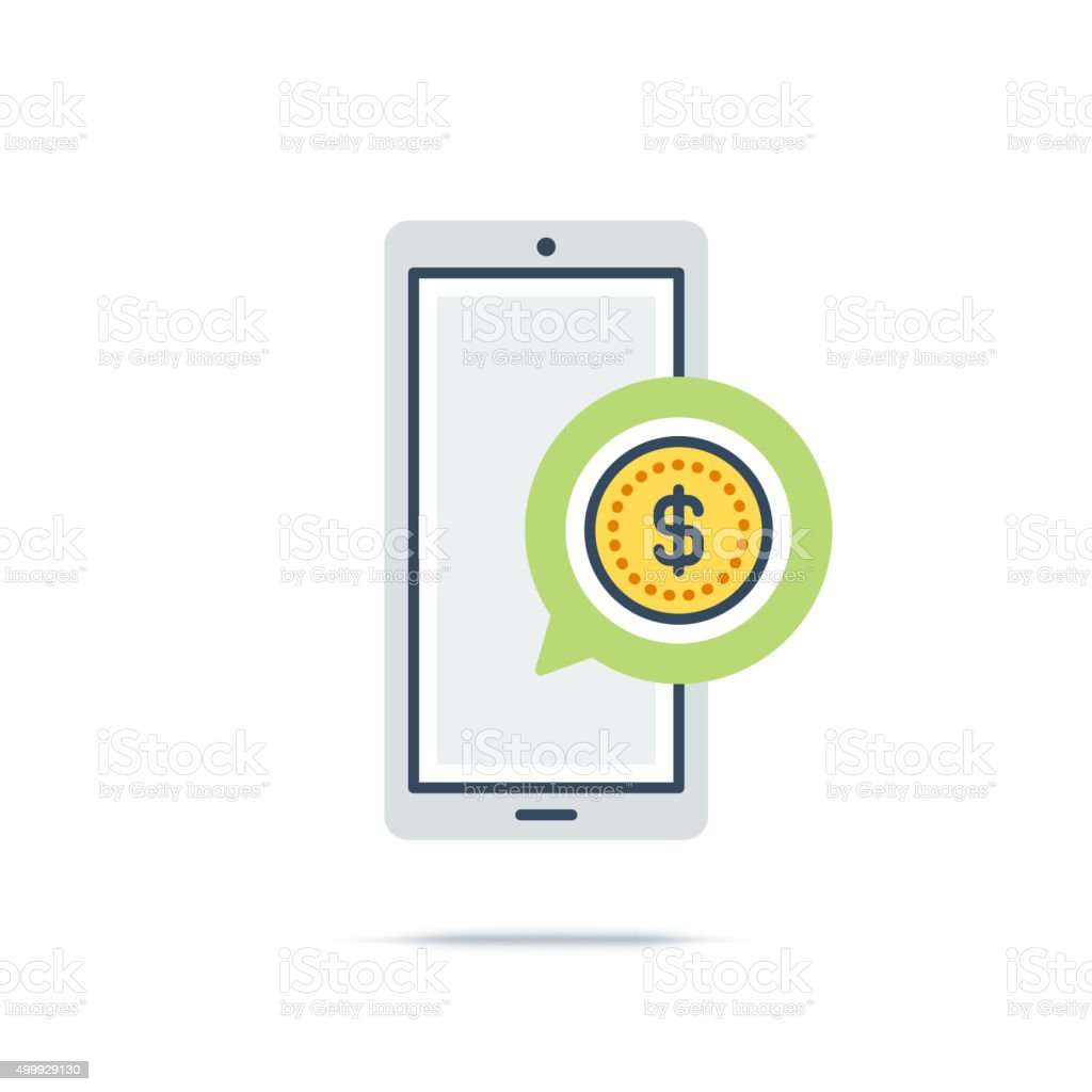 Vector Icon of Mobile Commerce vector art illustration