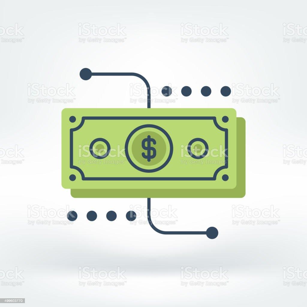 Vector Icon of Money Bill vector art illustration