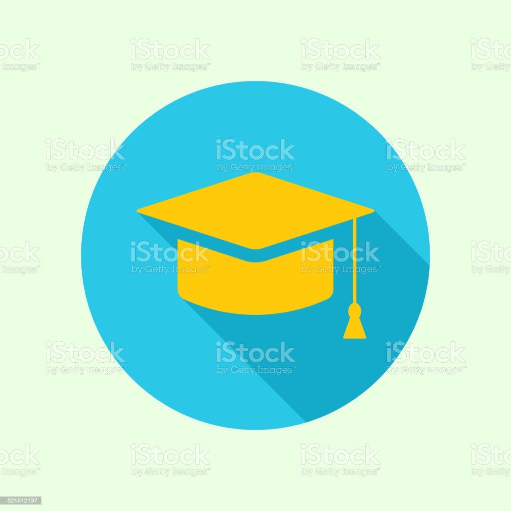 Vector icon of mortarboard or graduation cap vector art illustration