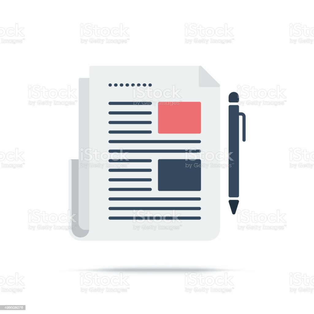 Vector Icon of Newspaper vector art illustration
