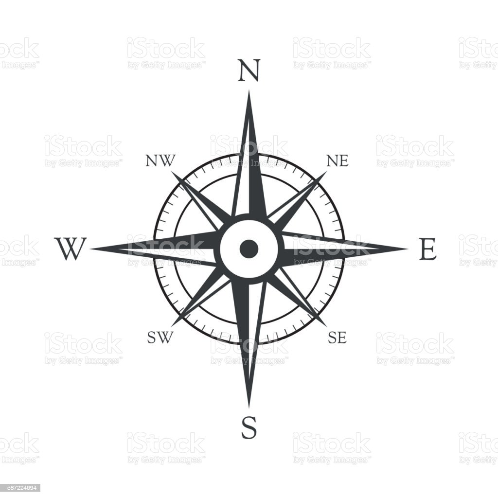 Vector icon old marine compass vector art illustration