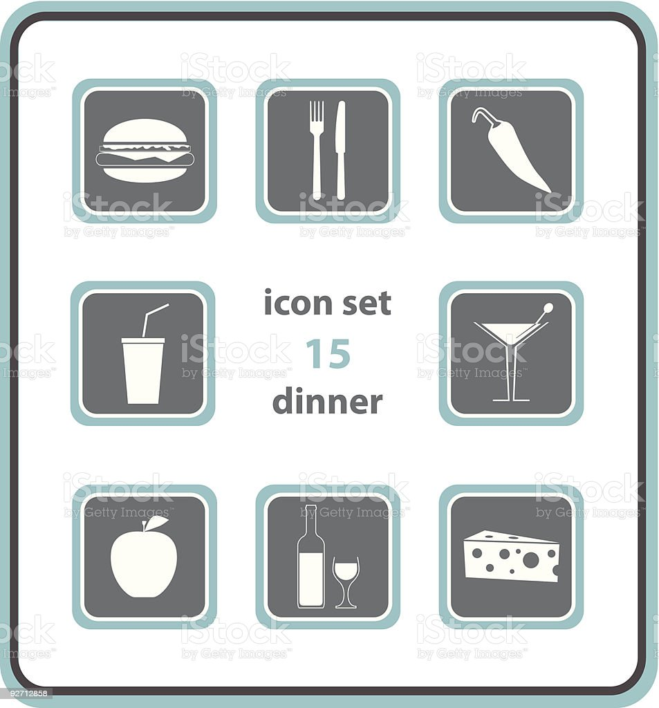 vector icon set 15: dinner royalty-free stock vector art