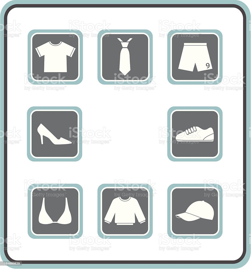 vector icon set 30: clothes vector art illustration