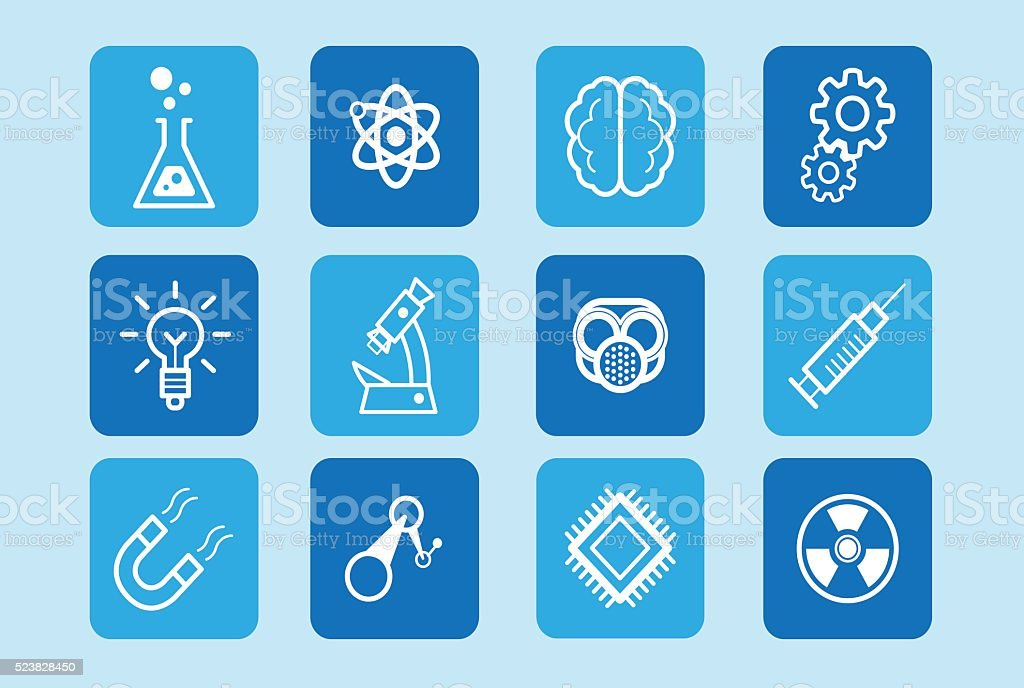 Vector icon set design of science, innovation and technology vector art illustration