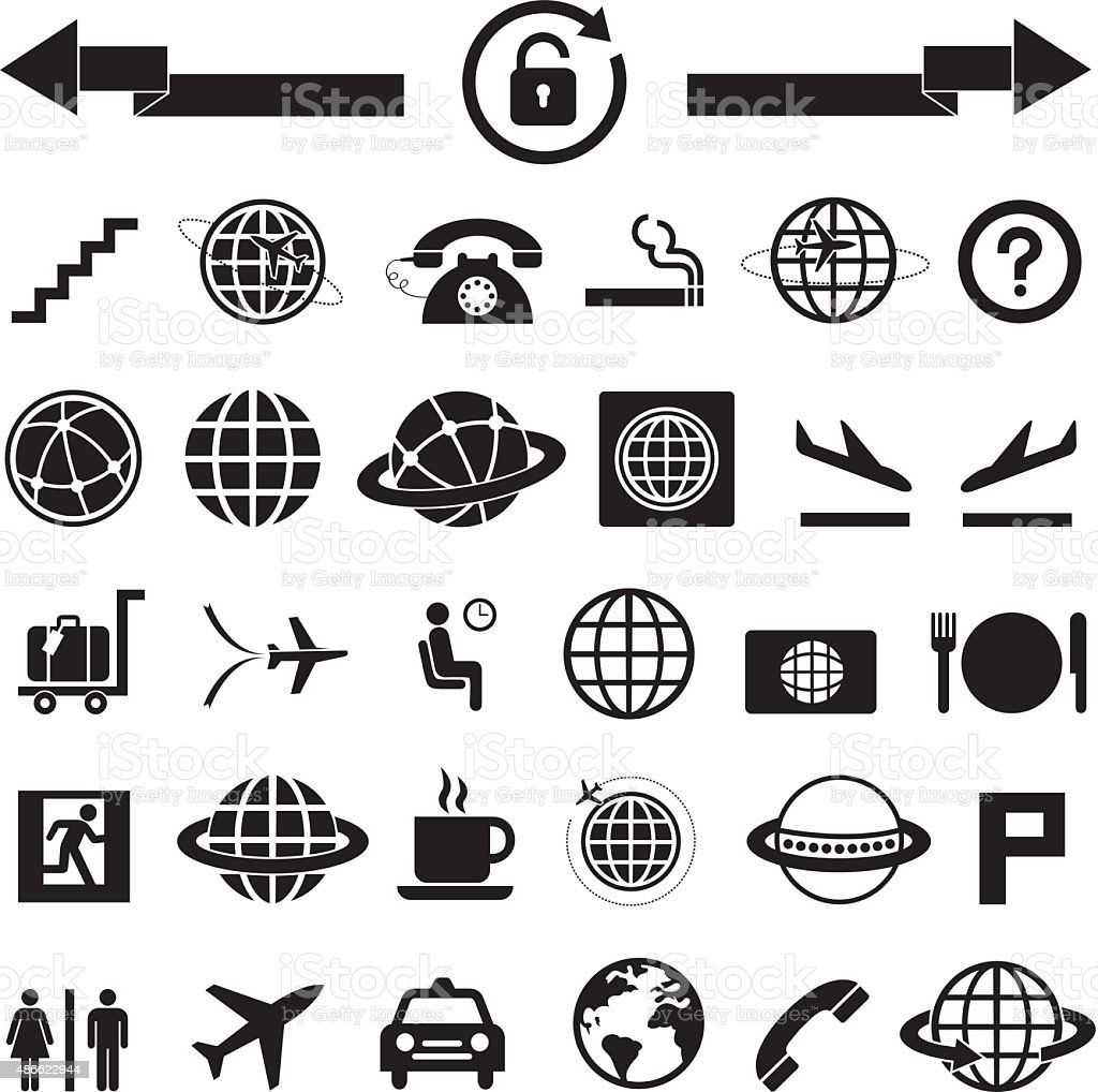 vector icon set for airport vector art illustration