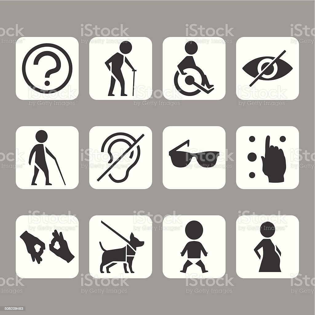 Vector icon set of access signs for physically disabled people vector art illustration