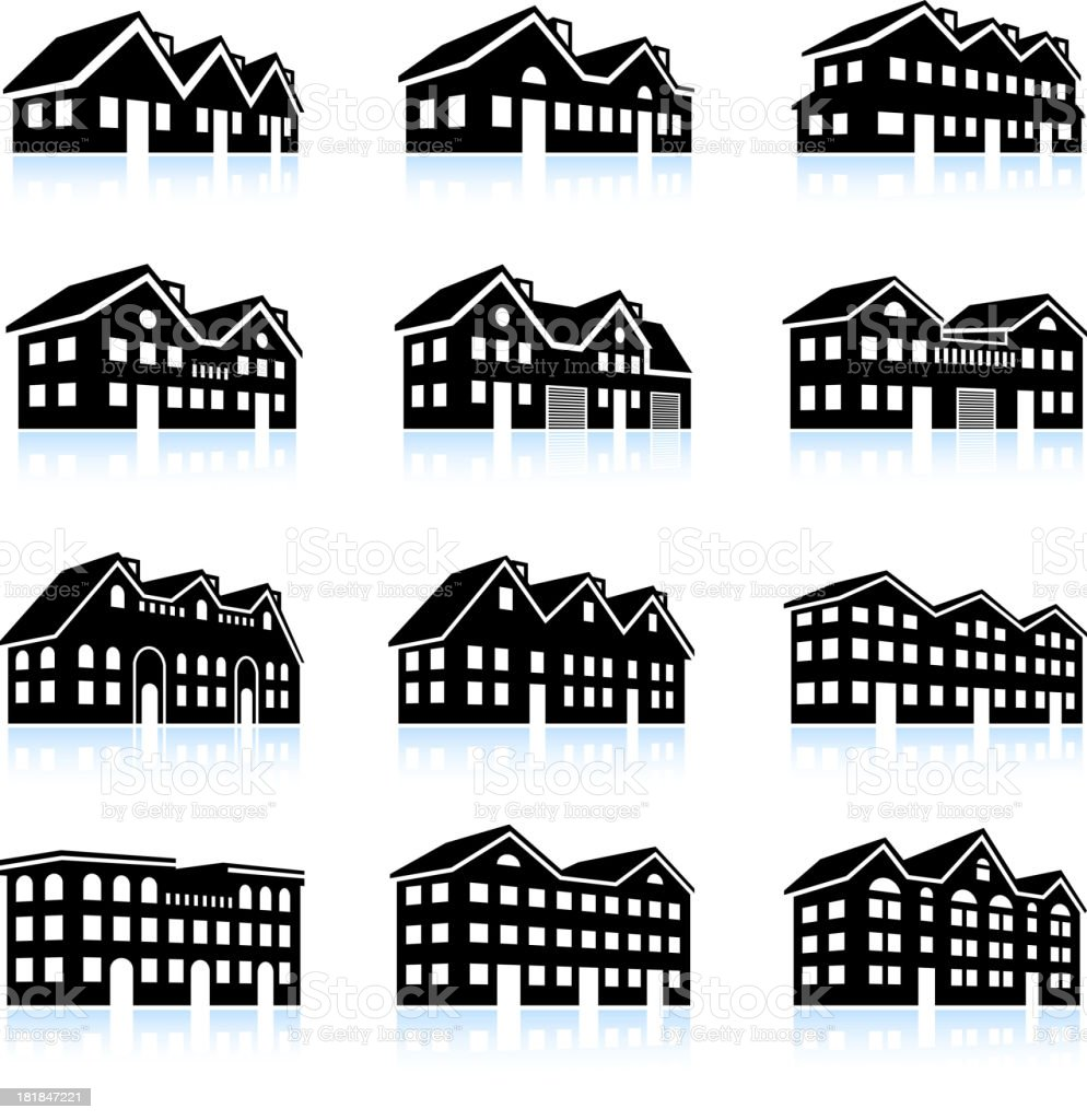 3-D vector icon set of apartment complexes vector art illustration