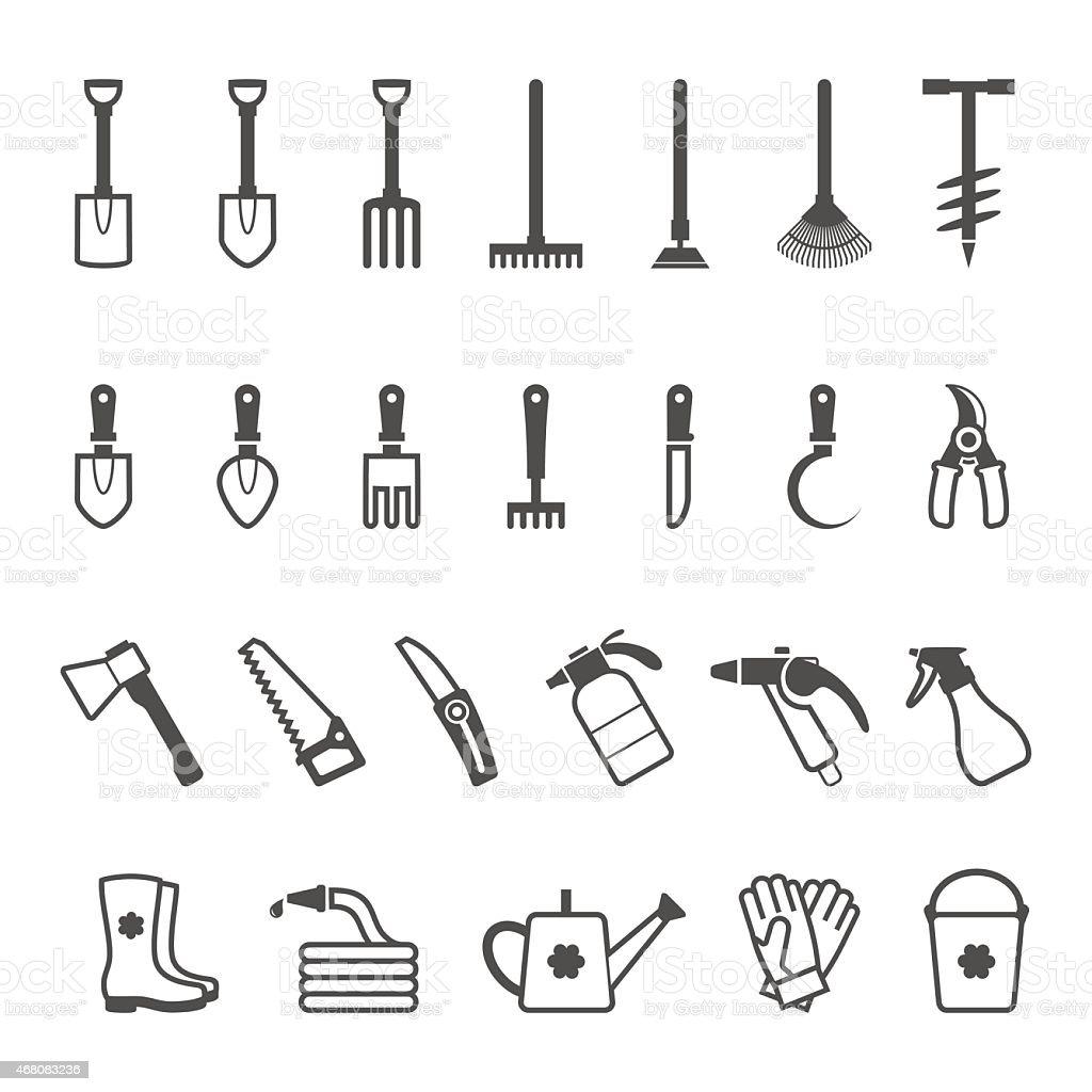 Vector icon set of garden tools vector art illustration