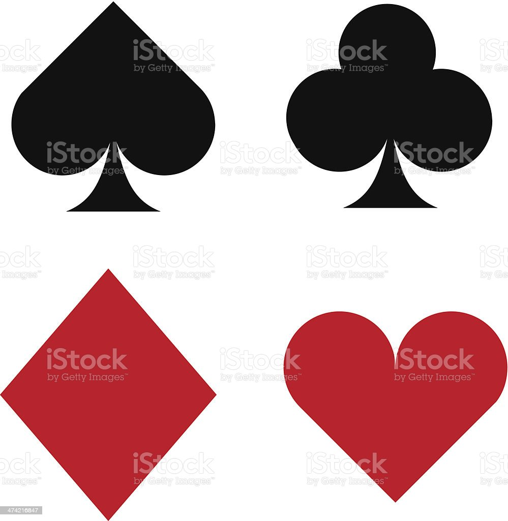 Vector icon set of playing card suits vector art illustration