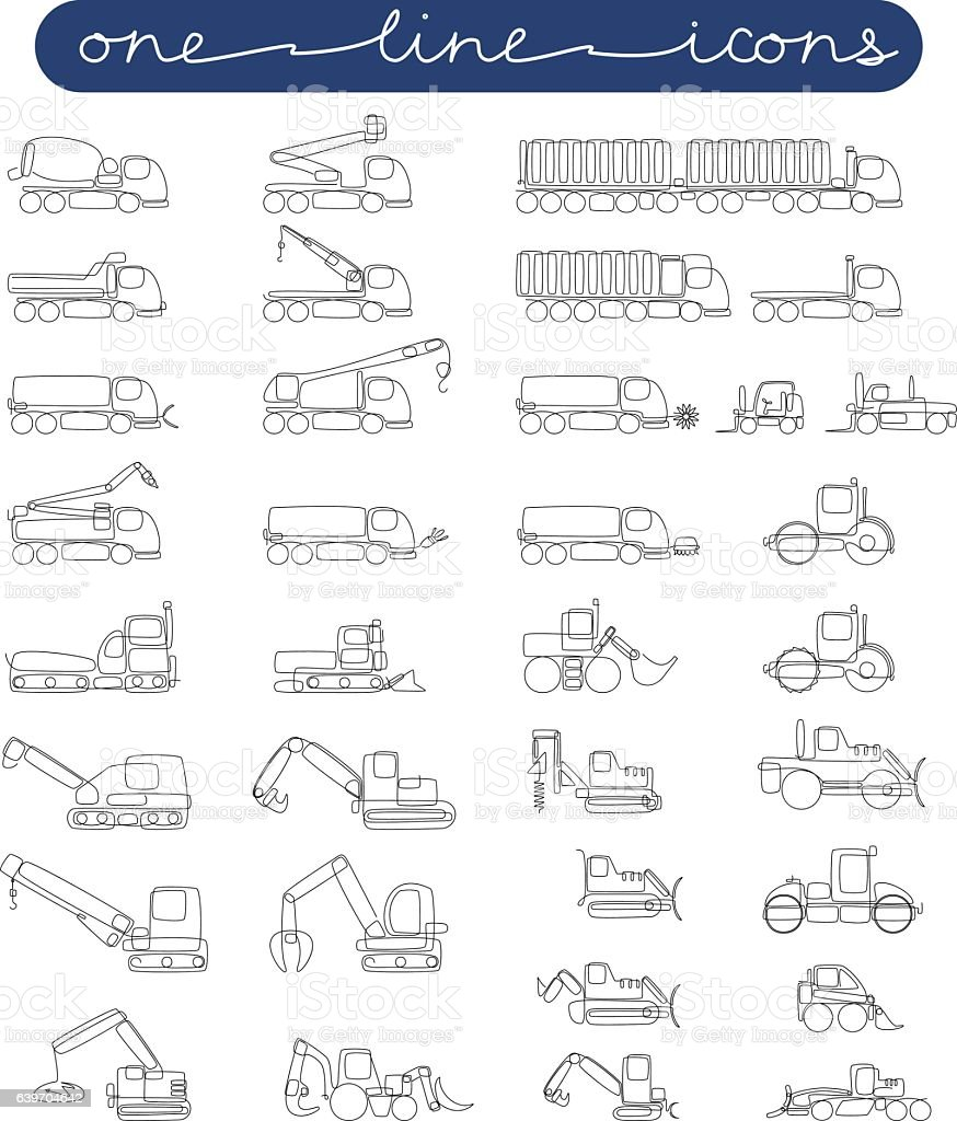 vector icon set road and construction equipment vector art illustration