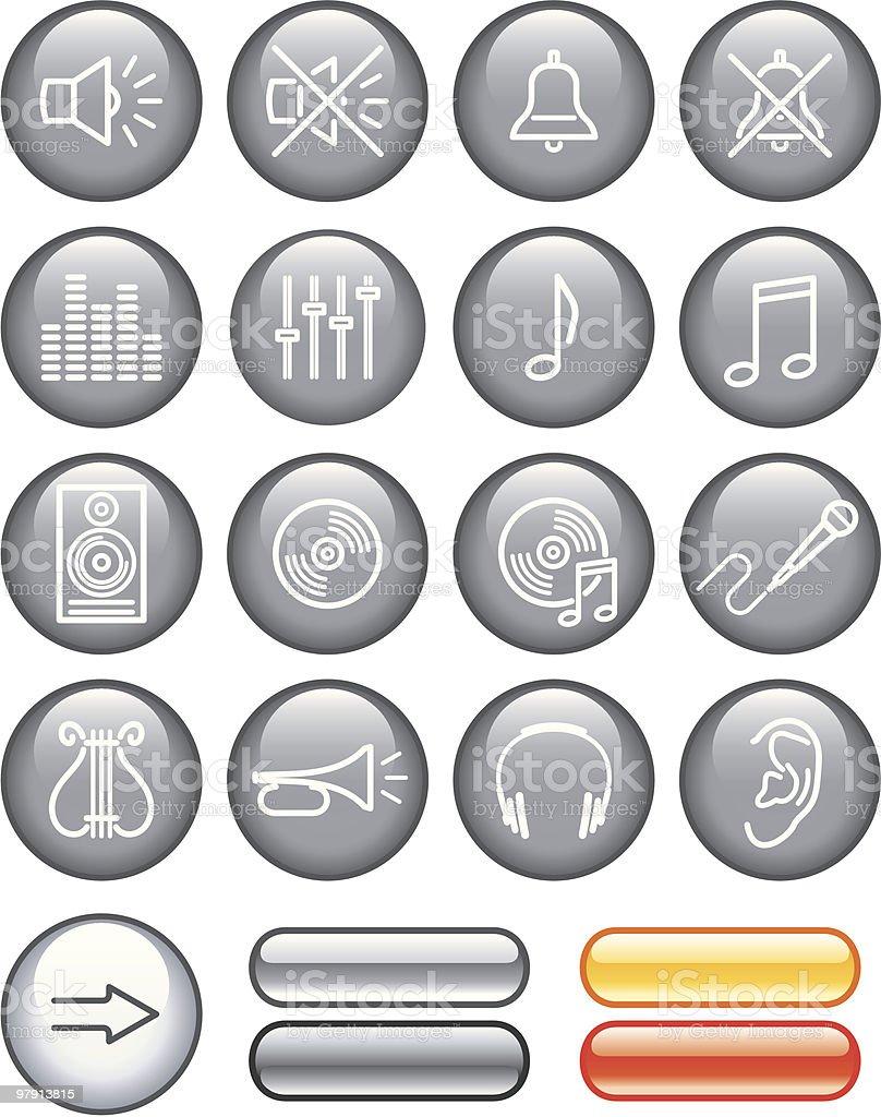 Vector Icon Set - Sound vector art illustration