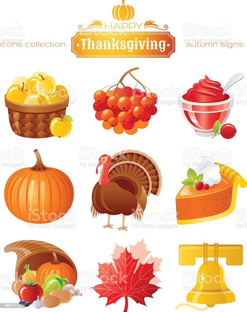 Vector icon set with autumn and thanksgiving food vector art illustration
