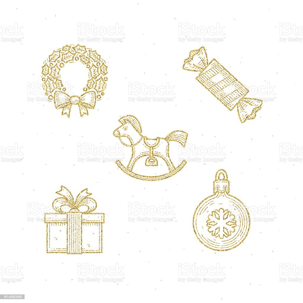 Vector icon set with Christmas glitter gold sign and symbol vector art illustration