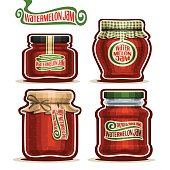 Vector icon Watermelon Jam in Jars