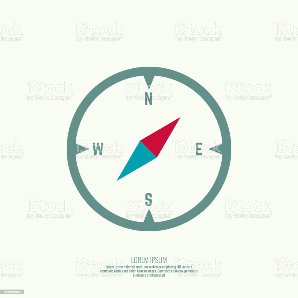 vector icon with a compass. vector art illustration