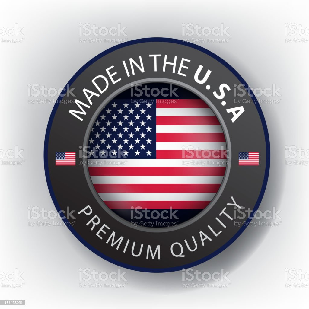 A vector icon with the US Flag saying made in the USA vector art illustration