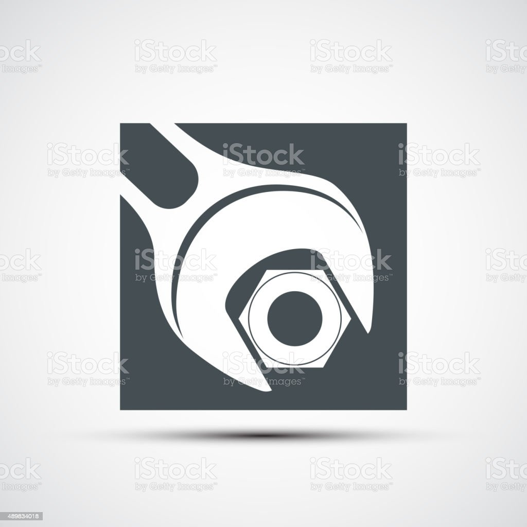 Vector icon wrench to tighten the screws vector art illustration