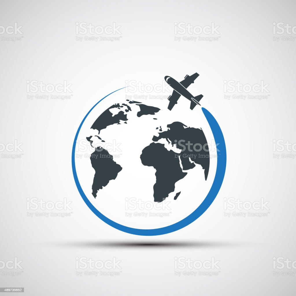 Vector icons airplane fly around the planet earth vector art illustration