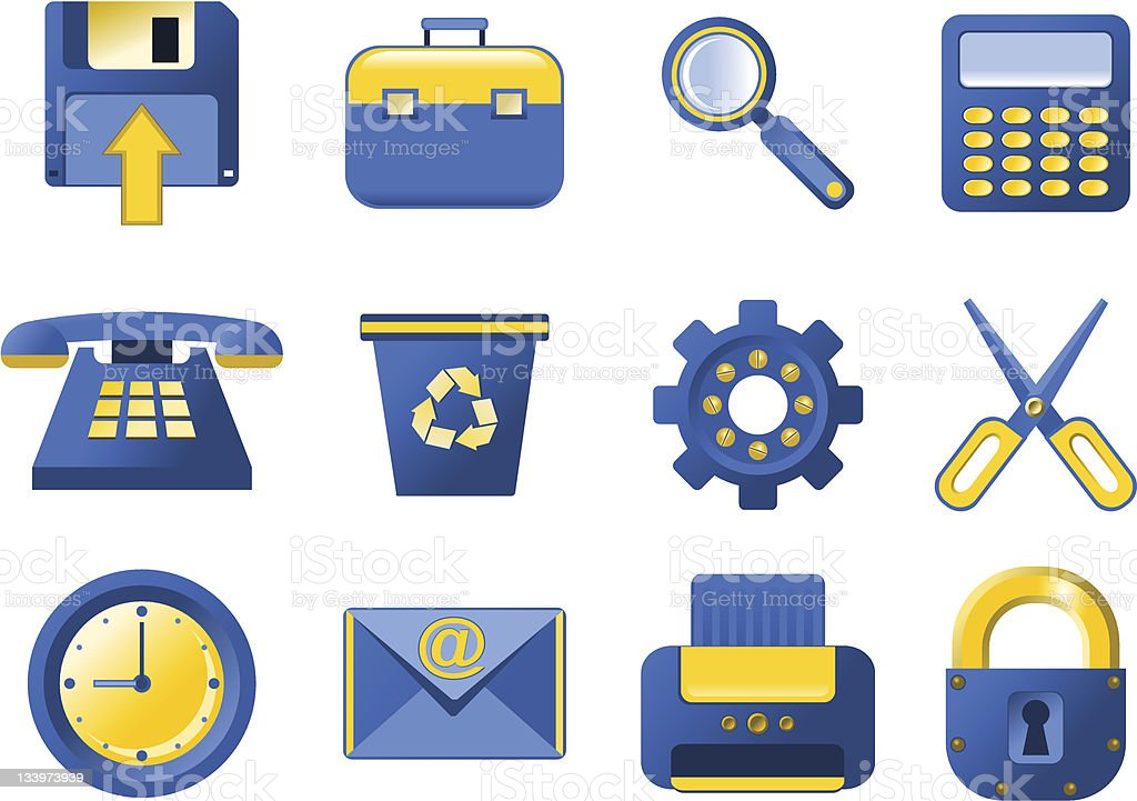 Vector Icons - blue and yellow royalty-free stock vector art
