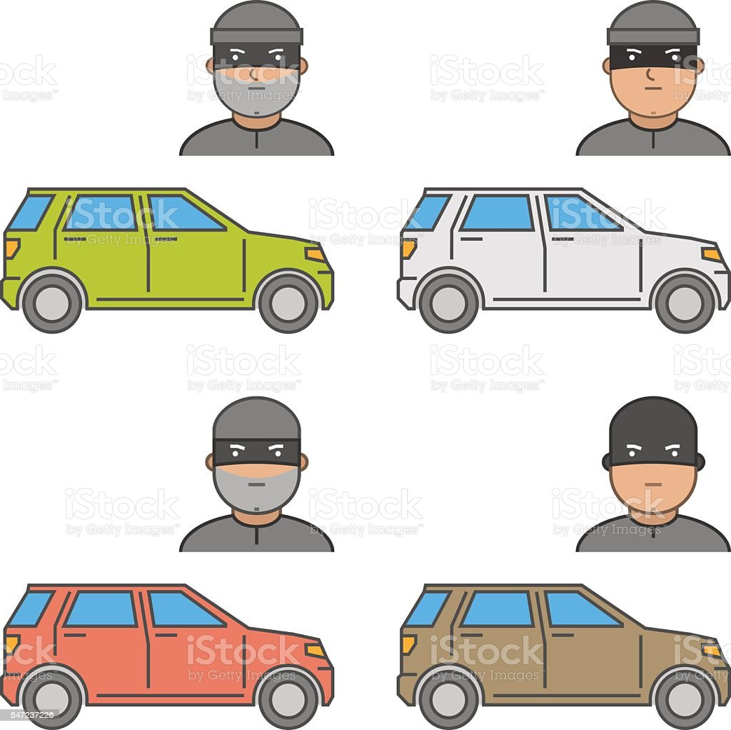 Vector icons car theft. Modern symbol auto theft. vector art illustration