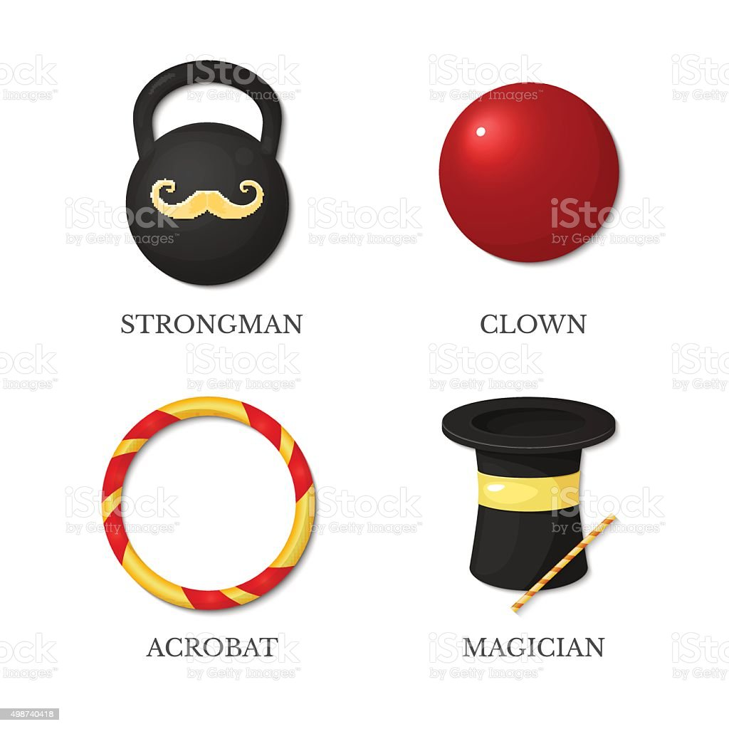 Vector icons circus artists vector art illustration