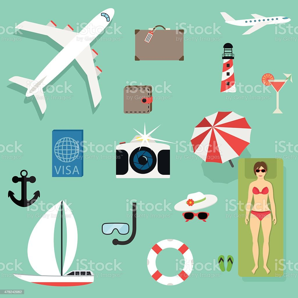 Vector icons concepts in flat style - travel and vacation vector art illustration