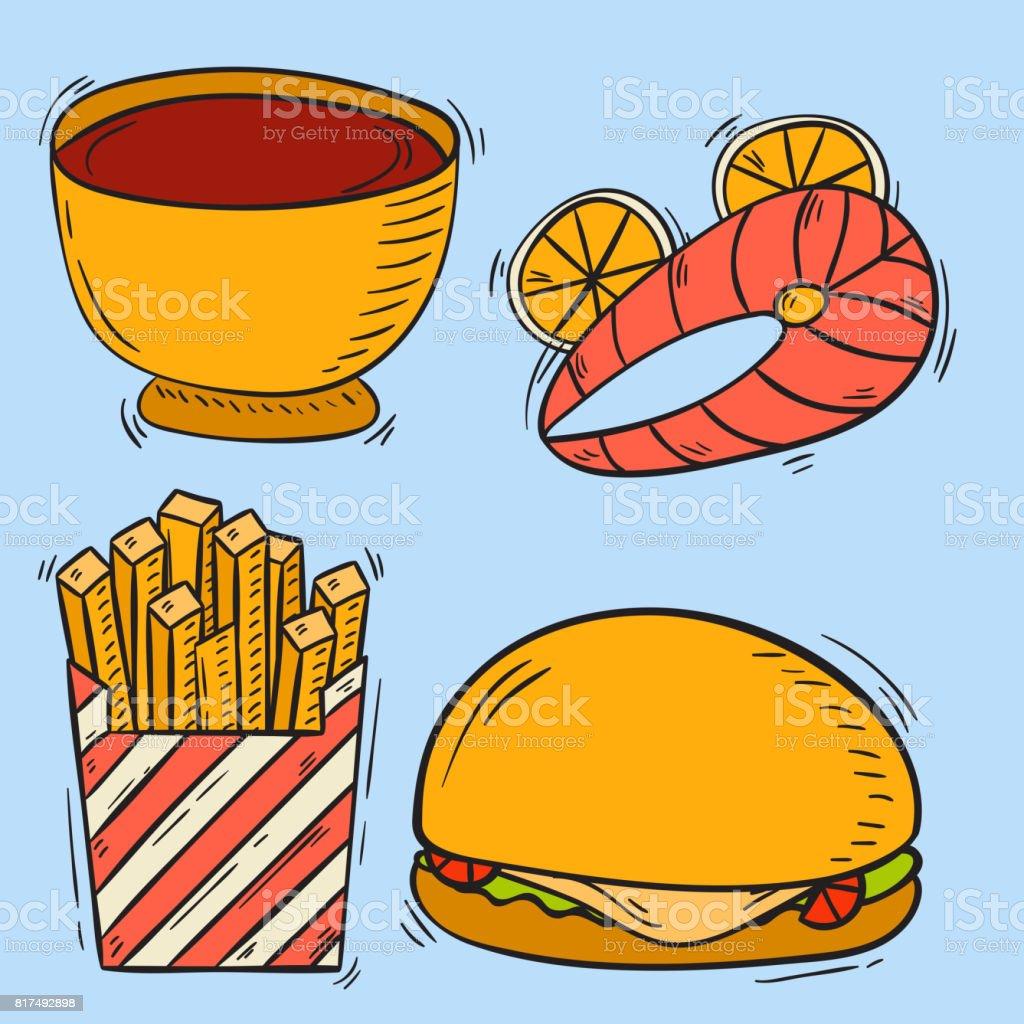 Vector icons fast food hand drawn restaurant breakfast hamburger design kitchen unhealthy meal vector art illustration