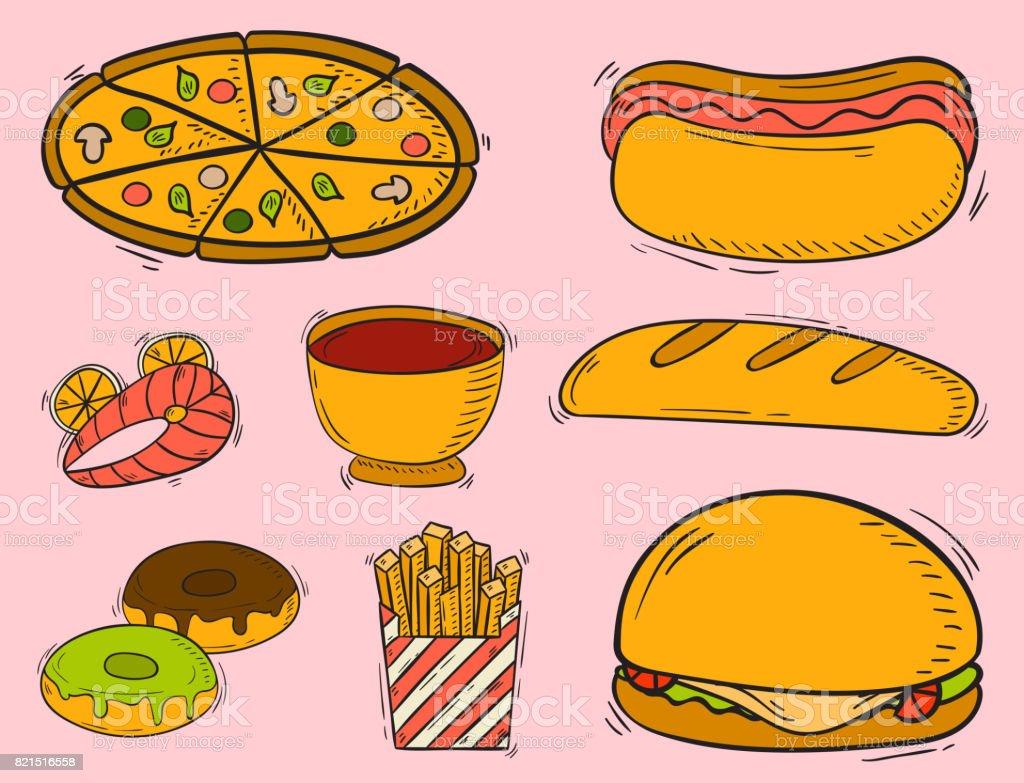 Vector icons fast food hand drawn restaurant breakfast hamburger design kitchen unhealthy dessert vector art illustration