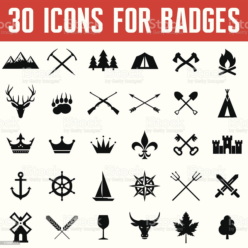 Vector Icons for Badges and Different Design Works vector art illustration