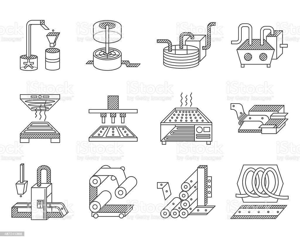 Vector icons for food processing industry vector art illustration