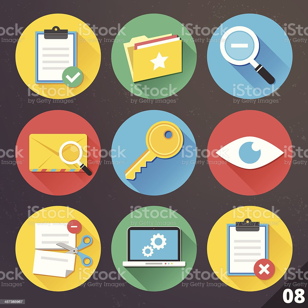 Vector Icons for Web and Mobile Applications. Set 8. vector art illustration