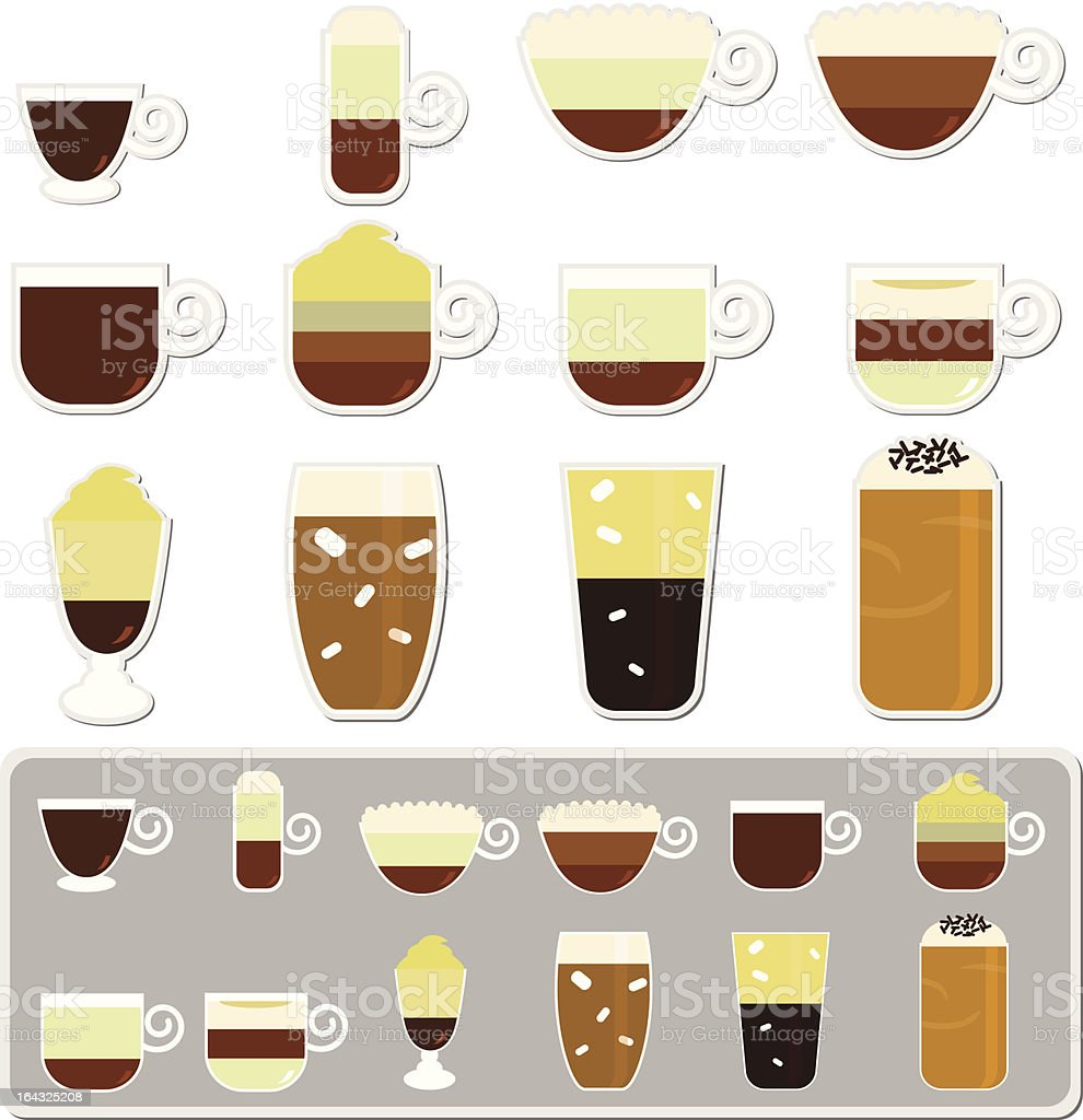 vector Icons: Hot Beverages (Coffee, Tea, Chocolate) Set#2 vector art illustration