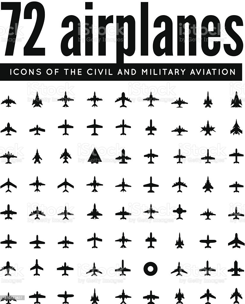 vector icons of airplanes vector art illustration