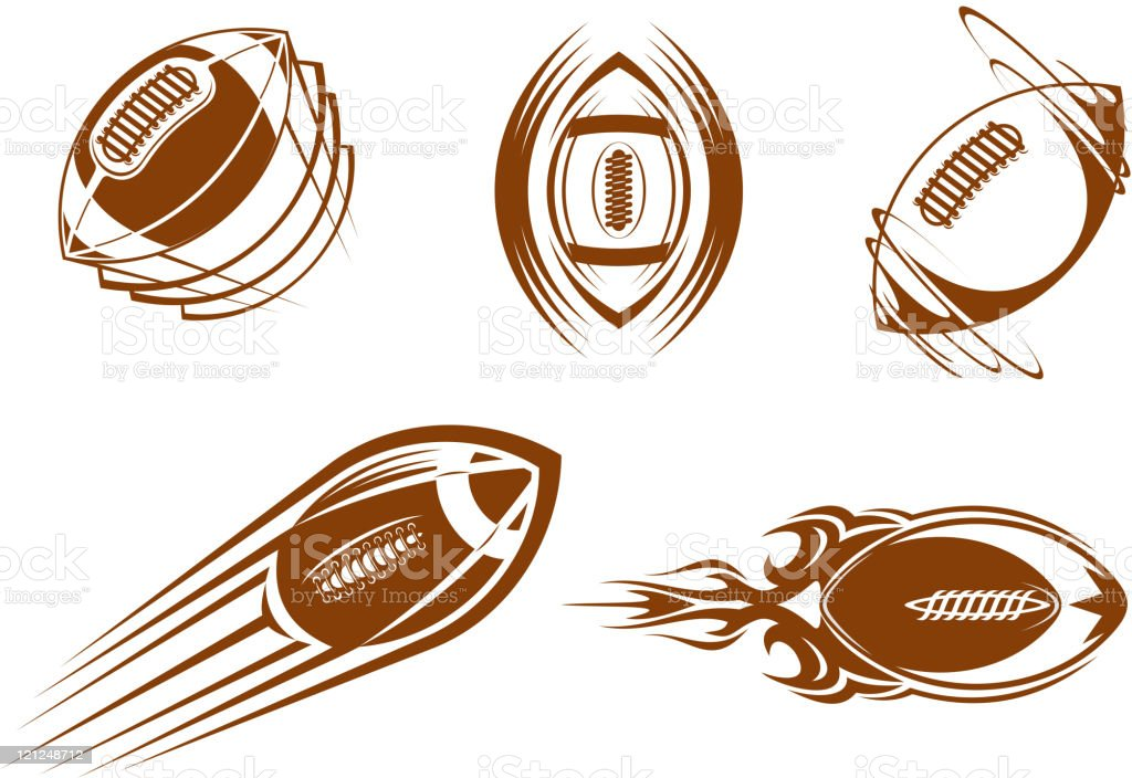 Vector icons of brown and white rugby balls royalty-free stock vector art