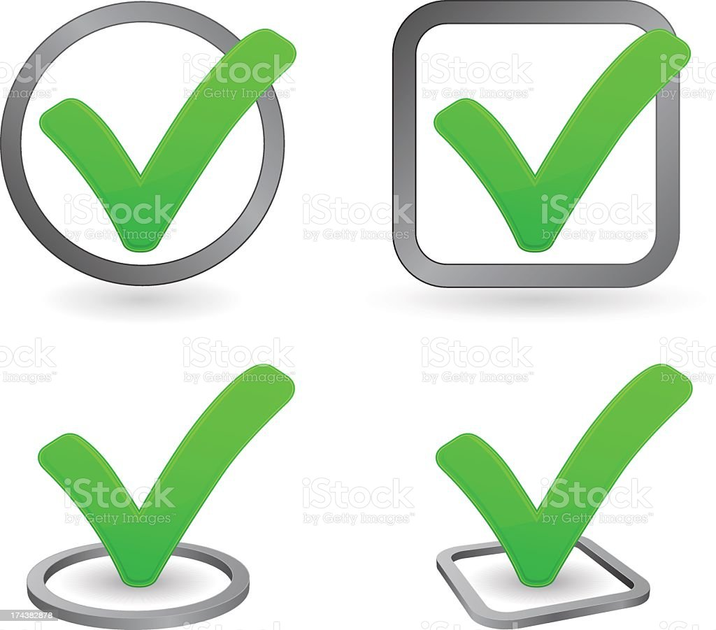 Vector icons of different green checkmarks vector art illustration
