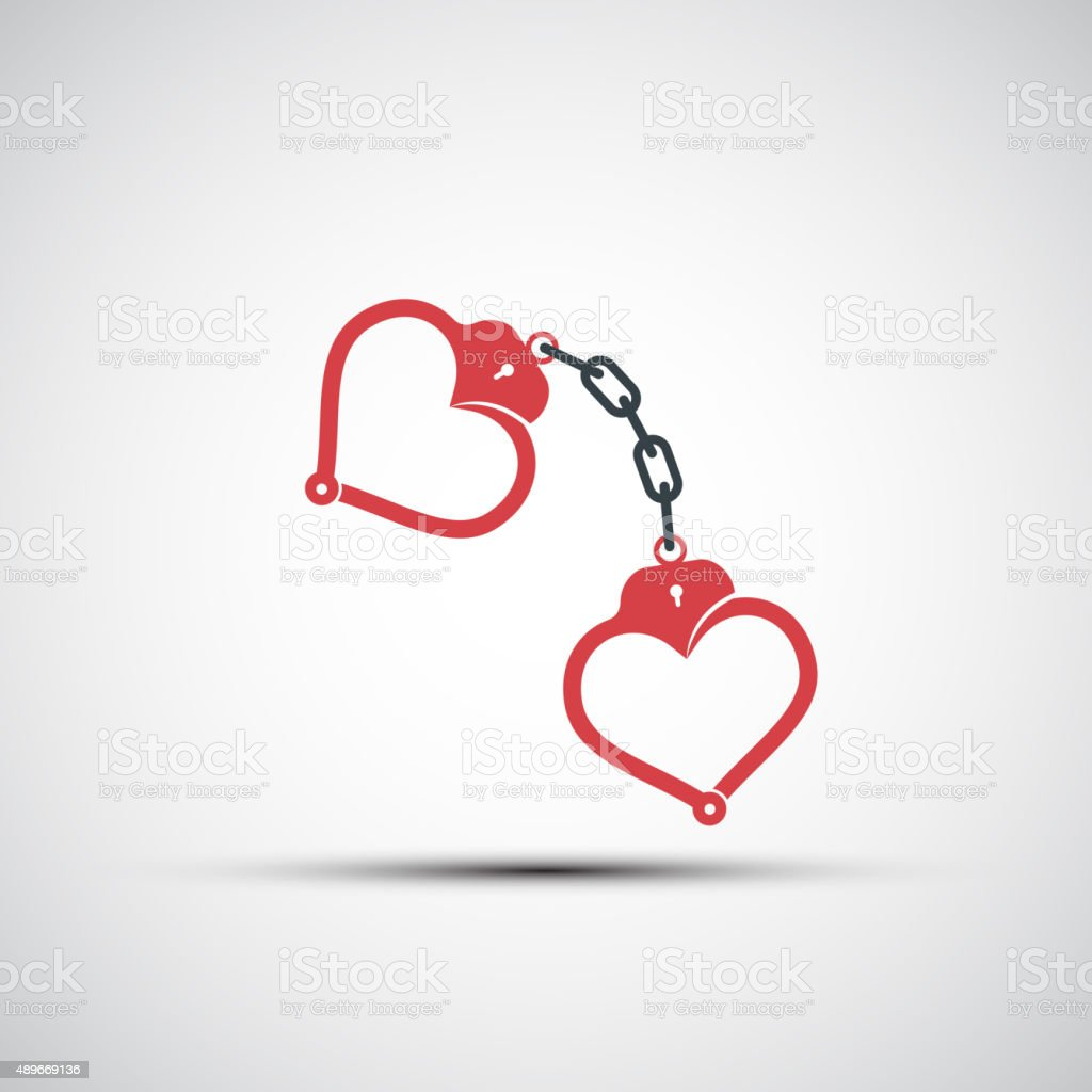 Vector icons of handcuffs in the form of heart vector art illustration