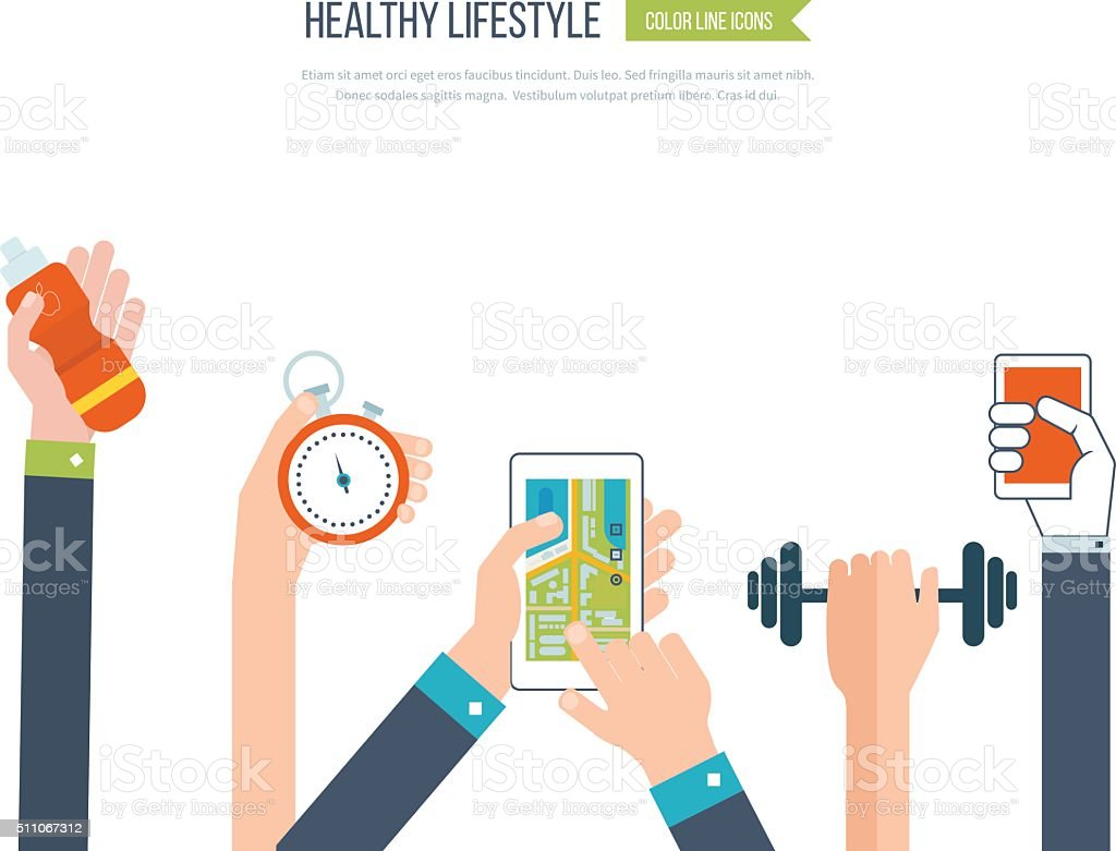 Vector icons of healthy lifestyle, fitness and physical activity vector art illustration