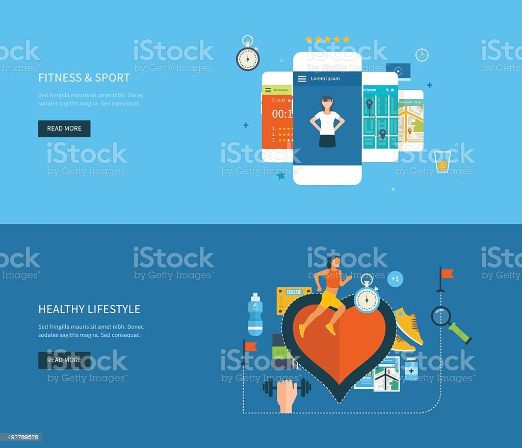 Vector icons of healthy lifestyle, fitness. Healthy lifestyle concept vector art illustration