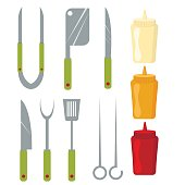 Vector Icons of kitchen knifes