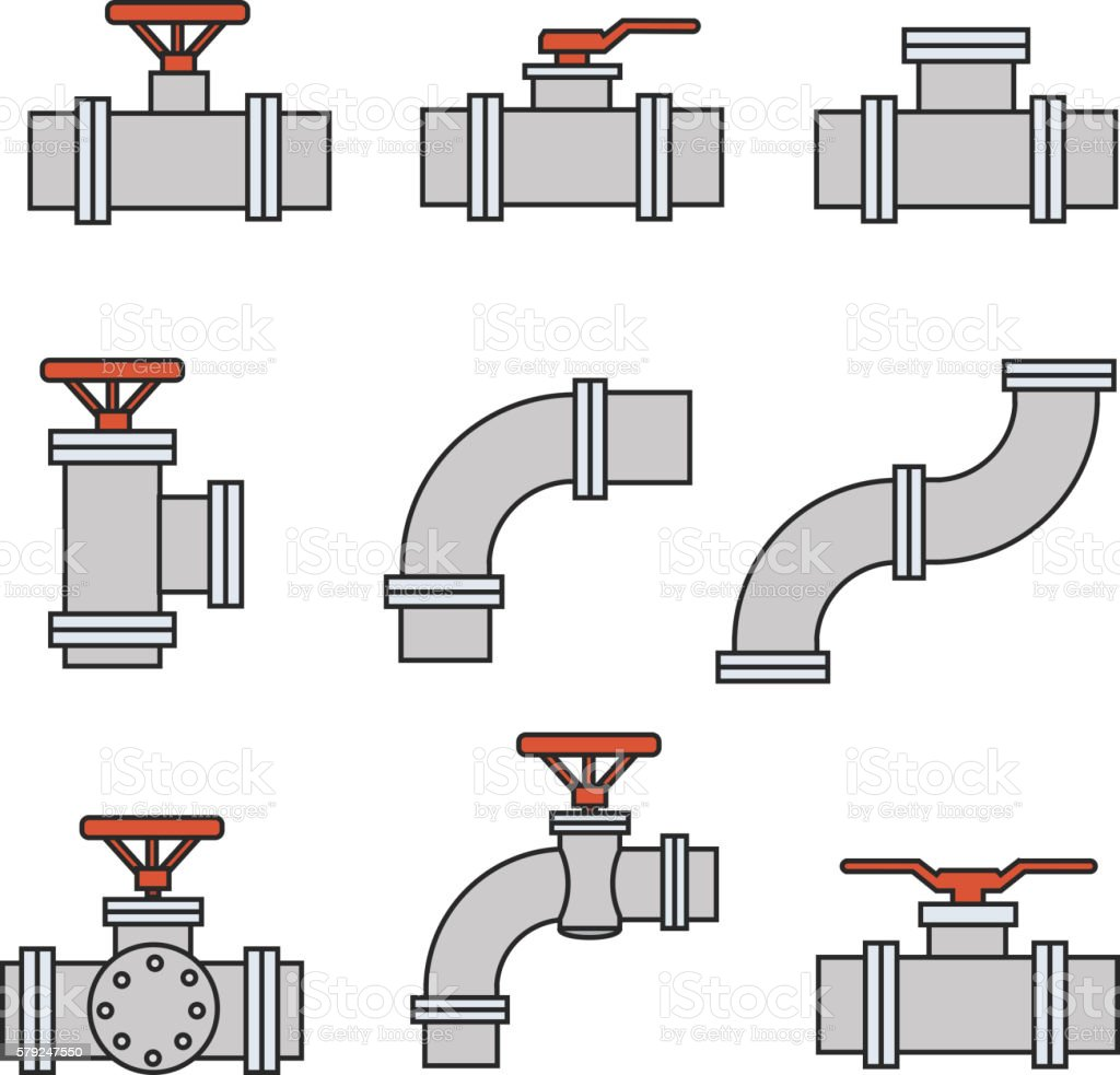 Vector icons of pipe connector, valve for plumbing, piping work. vector art illustration