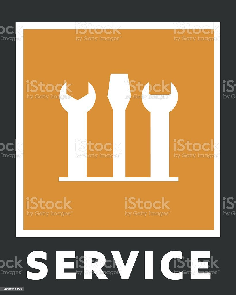 Vector icons of service. Screwdriver and spanner vector art illustration