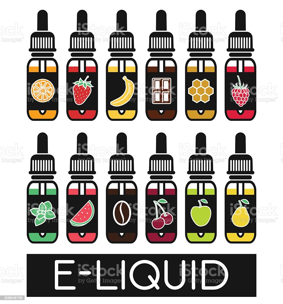 Vector Icons of  tastes of electronic cigarette vector art illustration